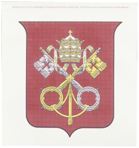 3dRose ht_107168_2 Coats of Arms of The Holy See and Vatican City in Mosaic Iron on Heat Transfer for White Material, 6 by 6-Inch