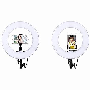 GWJ- 3200K-5500Kk Anillo De Luz LED 14 Pulgadas De Bi-Color, Kit con Soporte De Luz Y Zapata para Cámara Smartphone Youtube Vine Y Video Selfie: Amazon.es: ...