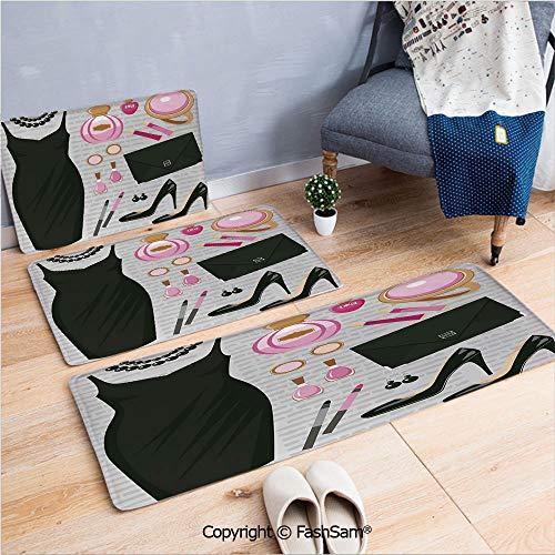 FashSam 3 Piece Non Slip Flannel Door Mat Black Smart Cocktail Dress Perfume Make Up Clutch Bag Indoor Carpet for Bath Kitchen(W15.7xL23.6 by W19.6xL31.5 by W35.4xL62.9)