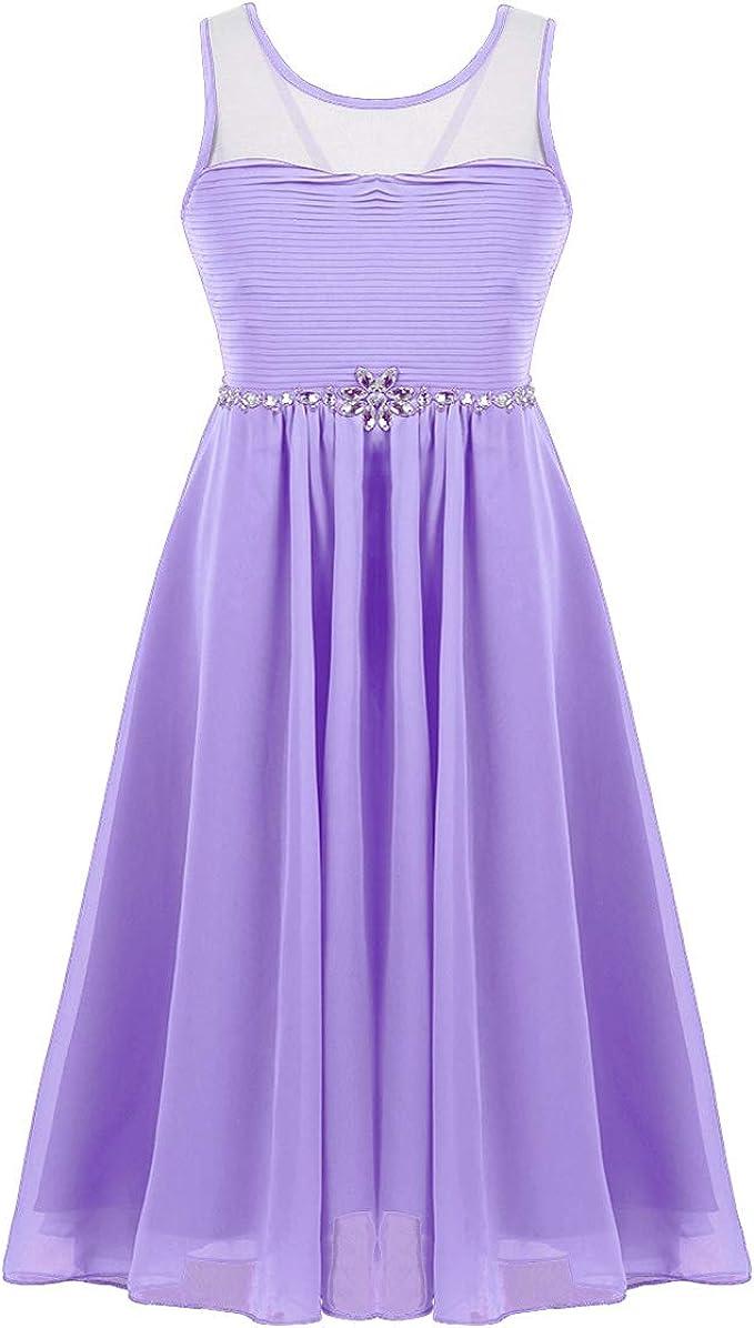 iEFiEL iEFiEL Mädchen Ärmellos Chiffon Kleid Prinzessin Festzug