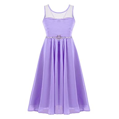 9f5d78f2186 Amazon.com  YiZYiF Girls  Kids  Princess Rhinestones Wedding Party Pleated  Chiffon Flower Girls Dresses with Lace-up Back  Clothing