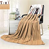 Lightweight Blanket Row of Hungry Dogs Tongue Sticking Out Behind A Wall of Wood Lunch Time Art Camel White Digital Printing Blanket