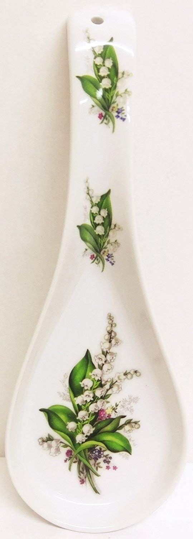 Reposa cucharas de cer/ámica de porcelana lirios con soporte para cuchara grande decorado a mano en Reino Unido fromeuropewithlove Lily of the Valley