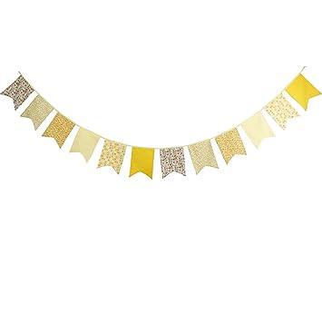 Banderines decorativos de tela de algodón, con patrones florales por ambas caras, 12 banderines