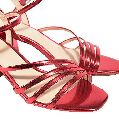 Parfois Patent Medium Heel Sandals - Women Red SS9o4QY