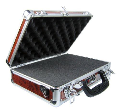 Common Sense Cases Woody Single/Double Pistol Case, Wood Grain/Aluminum Aluminum Double Pistol Case
