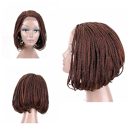 Price comparison product image HAIR WAY Box Braided Wigs Bob Lace Front Wig for Black Women Glueless Short Bob Braided Lace Wig with Baby Hair for Daily Wear Half Hand Tied 12inches #27/30