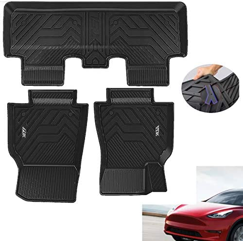 Car Floor Mats Compatible with 2020 2021Tesla Model Y Includes 1st and 2nd Row: Front & Rear Full Set Liner, Black TPE All Weather Guard