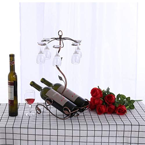 Maikouhai 2Pcs Wine Rack, Glass Metal Rack Display Stand Wine Organizers Countertop Cabinet Wine Holder Storage Stand - Hold 2 Bottles - Home, Bars, Hotels and Restaurants - 16x12.2x5.5 Inch, Bronze