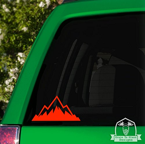 6 White Grain To Glass Designs Jagged Mountain Range Vinyl Car Decal