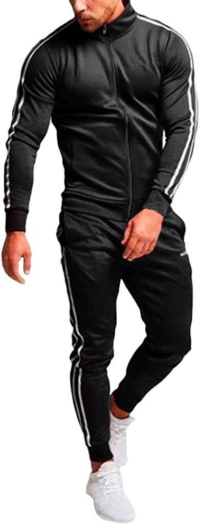 Mens Track Suits 2 Piece Lightweight Side Striped Full Zip Sweatshirt Jacket Coats Stretch Jogging Sweatpants Set Fall Winter Casual Workout Running Activewear