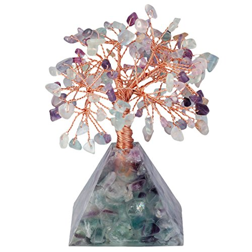 SUNYIK Natural Rainbow Fluorite Money Tree, Rainbow Fluorite Pyramid Crystal Base Bonsai Sculpture Figurine 4.5 Inch