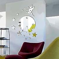 Walplus (TM) intérieur Décoration fée Clochette avec étoiles Miroir Mural Rond d'intérieur réflexion