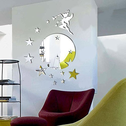 WALPLUS Mirror Wall Art Flying Fairy Tinker Bell with Stars Round Wall Stickers Removable Self-Adhesive Mural Decals Vinyl Home Decoration DIY Living Bedroom Décor Kids Room, Silver ()