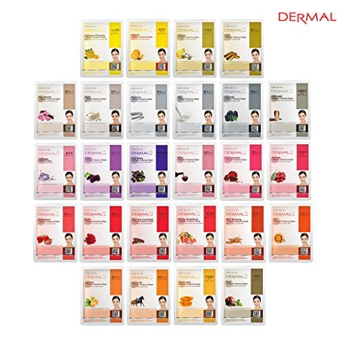 DERMAL Collagen Essence Full Face Facial Mask Sheet 26 Yellow & Red Combo Pack - Skin Nourishing, Elasticity ()