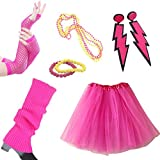 80s Fancy Outfit Accessories Set-Adult Tutu Skirt,Leg Warmers(Hotpink)