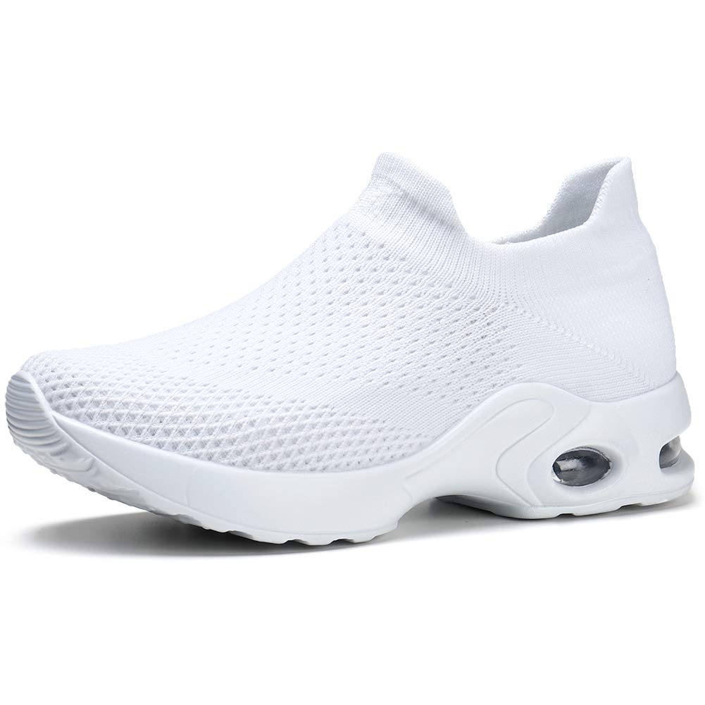 White 58 STQ Women Walking shoes Slip On Sneakers Casual Trainer