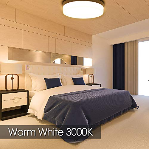 Lampara de Techo,24W Blanco calido plafon led de techo, Impermeable IP40-Ultra Delgado Downlight, 3000K LED luz de techo para bano Dormitorio Cocina Sala de estar Comedor Balcon Pasillo 18CM