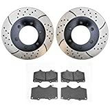 Prime Choice Auto Parts SCDPR4132941329976 Front Pair of Drilled and Slotted Rotors and Ceramic Brake Pads