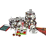CwC Dinner Set of 30 Pieces light weight Includes 6 pure stainless steel full Plates , 6 STAINLESS STEEL BOWLS , 6 STAINLESS STEEL GLASSES AND 6 STAINLESS STEEL QUARTER PLATES, 6 spoons