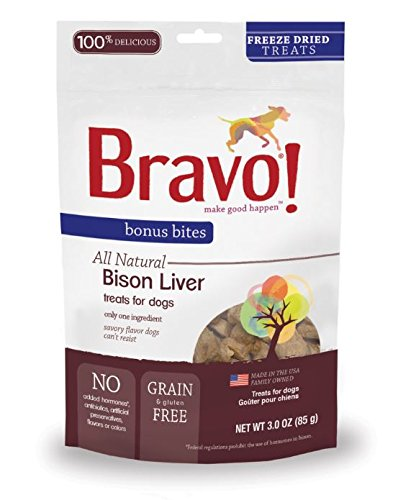 Bravo Bonus Bites Freeze Dried Buffalo Livers, 3-Ounce