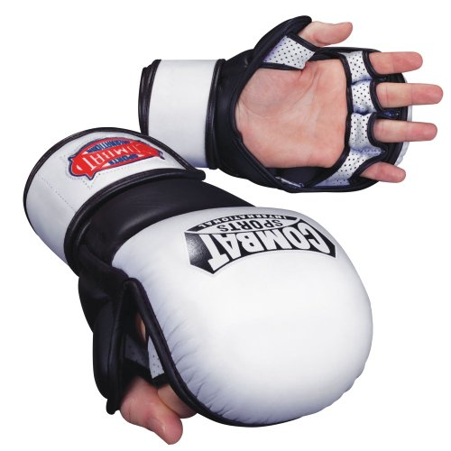 Combat Sports Safety MMA Training Sparring Gloves, White-Black, X-Large