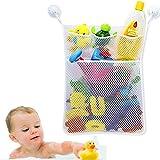 Bath Baby Toy Organizer Bathroom Tub Storage Mesh Bag-4 Bonus Suction Cups Hook,Bath Tub Toy Storage Mesh Bag Tidy Suction Net.(white)