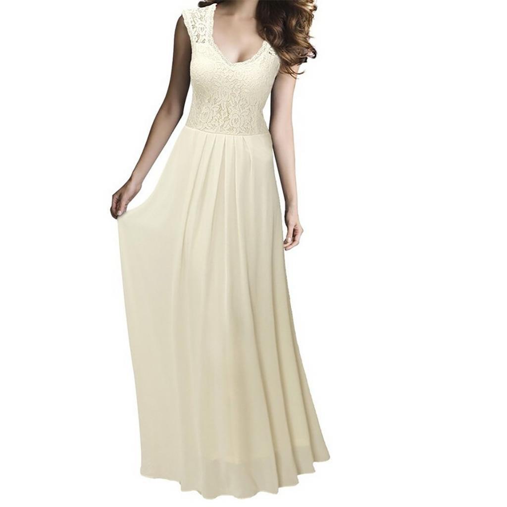 YUYU Western style ladies long v neck chiffon dress