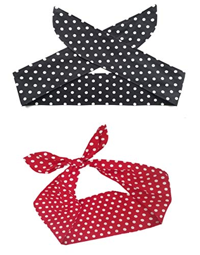 Shimmer Anna Shine Pin Up Girl Style Wire Adjustable Headband, 2 Pack (Red and Black Polka Dot Print) (Red Head Pin Up)