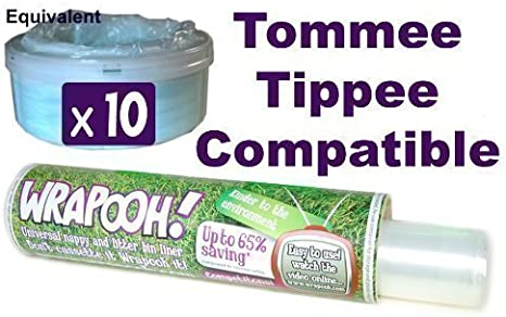 Envase y forro para desechar pa/ñales compatible con Tomee Tippee y Sangenic.Equivalente a aproximadamente 10 recipientes aptos para todos los cubos.Por favor comprueba la descripci/ón Wrapooh