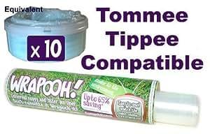 Wrapooh - Envase y forro para desechar pañales compatible con Tomee Tippee y Sangenic.Equivalente a aproximadamente 10 recipientes aptos para todos los cubos.Por favor comprueba la descripción