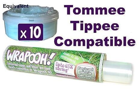 Wrapooh - Envase y forro para desechar pañales compatible con Tomee Tippee y Sangenic.Equivalente a aproximadamente 10 recipientes aptos para todos ...