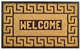 Imports Decor Rubber Back Coir Doormat, Welcome Greek Key, 18-Inch by 30-Inch