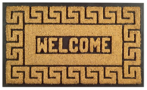 Imports Decor Rubber Back Coir Doormat, Welcome Greek Key, 18-Inch by 30-Inch ()