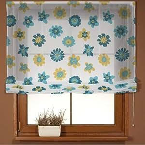 Dekoria 140x 180cm (55x 71cm) Siena Voile estor con accesorios–azul y amarillo flores
