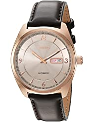 Seiko Mens Recraft Series Japanese Automatic Gold and Brown Leather Dress Watch (Model: SNKN72)
