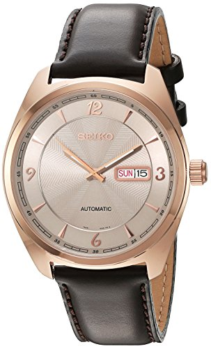 (Seiko Men's 'Recraft Series' Japanese Automatic Gold and Brown Leather Dress Watch (Model: SNKN72))