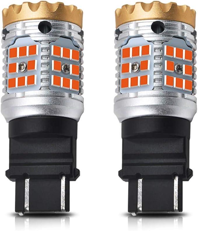 White Daytime Running Parking Light Standard Socket Pack of 2 LASFIT CANBUS Anti Hyper Flash 3157 3057 4157 Dual Color Switchback LED Amber Turn Signal Light Blinker Bulbs No Load Resistor Need