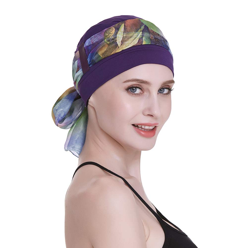 Sleep Caps for Chemo Women Alopecia Hair Loss Hats Scalp Bonnets Cancer Headwear Purple