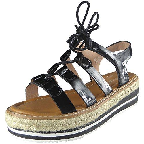 Neue Frauen Espadrilles Plattform Keil Sandalen Größe 3-8 Schwarz