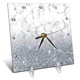 3dRose Anne Marie Baugh - Glitter and Bling - Gray Faux Digitally Printed Marble and Glitter Design - 6x6 Desk Clock (dc_289228_1)