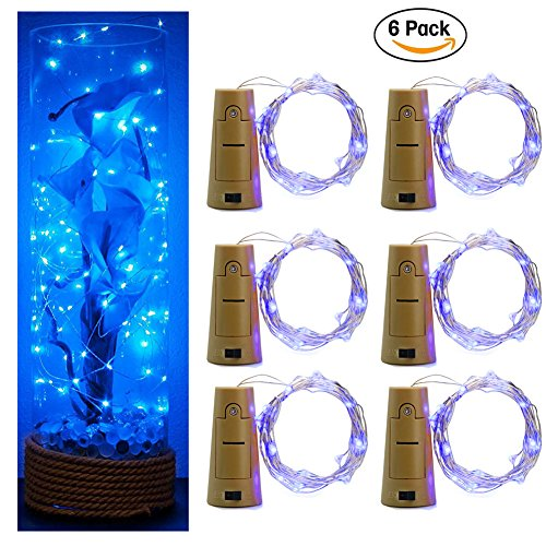 6-Pack 20LED Wine Bottle String Light, GuanYuanGuang 2M/6.6Ft Flexible Copper Wire Fairy Starry Decor Lights for Bedroom, DIY, Parties, Valentines Day, Built-in 3pc Button Cell (Blue)