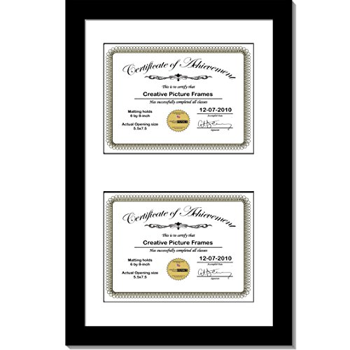 CreativePF [10x16bk-w] Black Vertical Double Diploma Frame with 2 Opening White Matting | Holds 2-6x8-inch Documents with Installed Wall Hanger