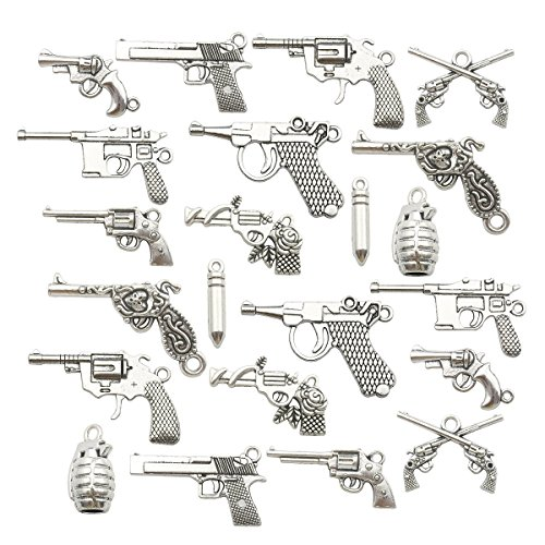 -100g Craft Supplies Pistol Gun Weapon Charms Pendants for Crafting, Jewelry Findings Making Accessory For DIY Necklace Bracelet Earrings ()