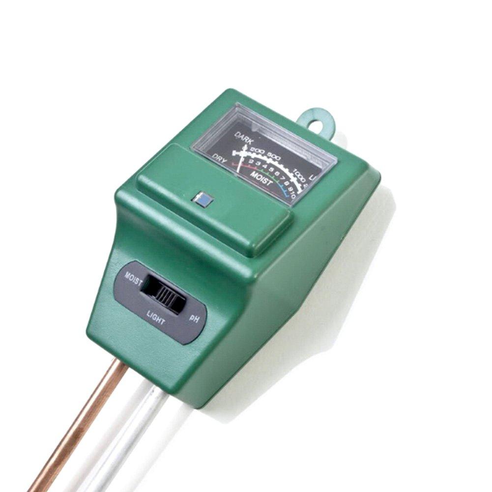 KINGLAKE 3 in 1 Soil Tester Moisture Meter Soil PH Acidity Tester Plant Light Testing Kit for Garden Farm, Batteries No Needed (Round) JH