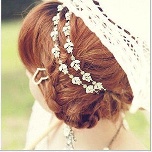 En cristal et strass Couronne pour cheveux Wicemoon Accessoires de robes de mariage Motifs fleurs et feuilles