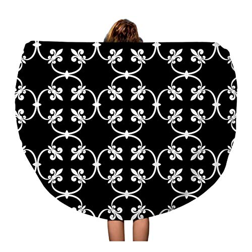 Semtomn 60 Inches Round Beach Towel Blanket Forged of White Fleur De Lis on Openwork Metal Travel Circle Circular Towels Mat Tapestry Beach Throw ()