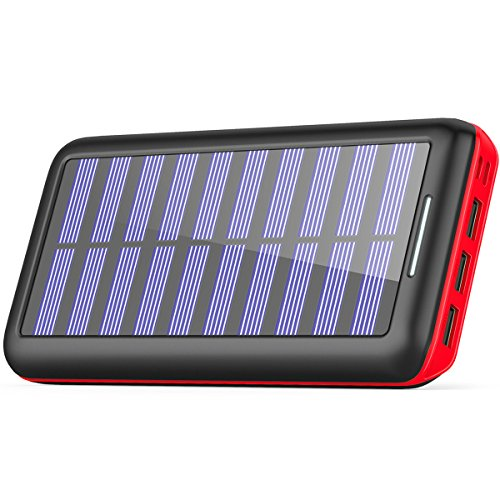 Solar Charger BERNET 24000mAh Ultra High Capacity Portable Solar Power Bank With USB Fan and 3 USB Port External Battery Pack Phone Charger For iPhone iPad Samsung HTC Cellphones And More (Red)
