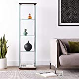 4-Shelf Glass Curio Cabinet Cappuccino and Clear