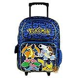"Nintendo Pokemon Pikachu 16"" Blue and Black School Rolling Backpack"